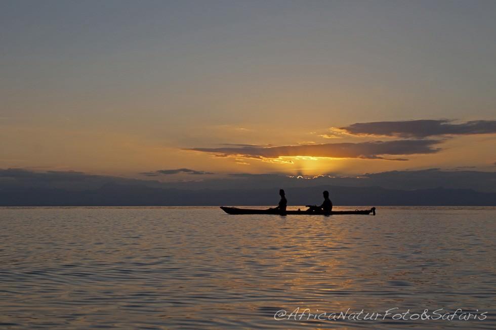 Sun down on lake Malawi